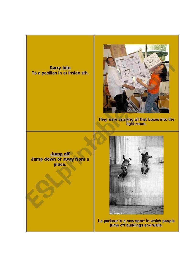 Phrasal verbs - cards [4] worksheet